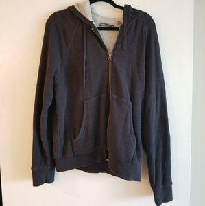 Vince black zip up terry lined hoodie
